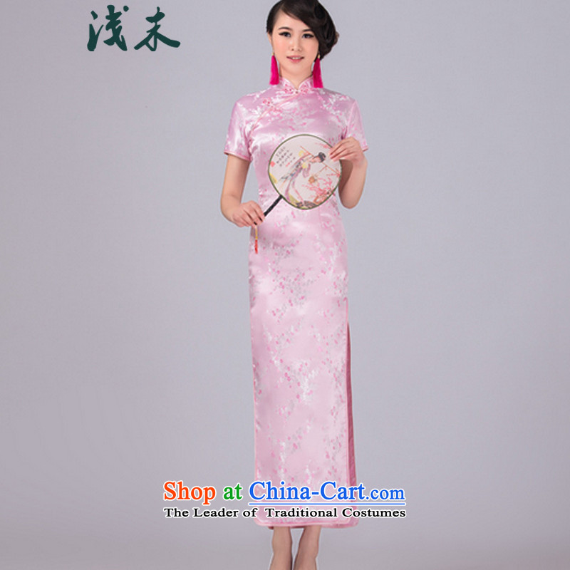 The end of the shallow China wind hotel courtesy of qipao gown improved damask Sau San Tong replacing retro graphics thin dresses?CJD03?small Phillips-head - Pink?M