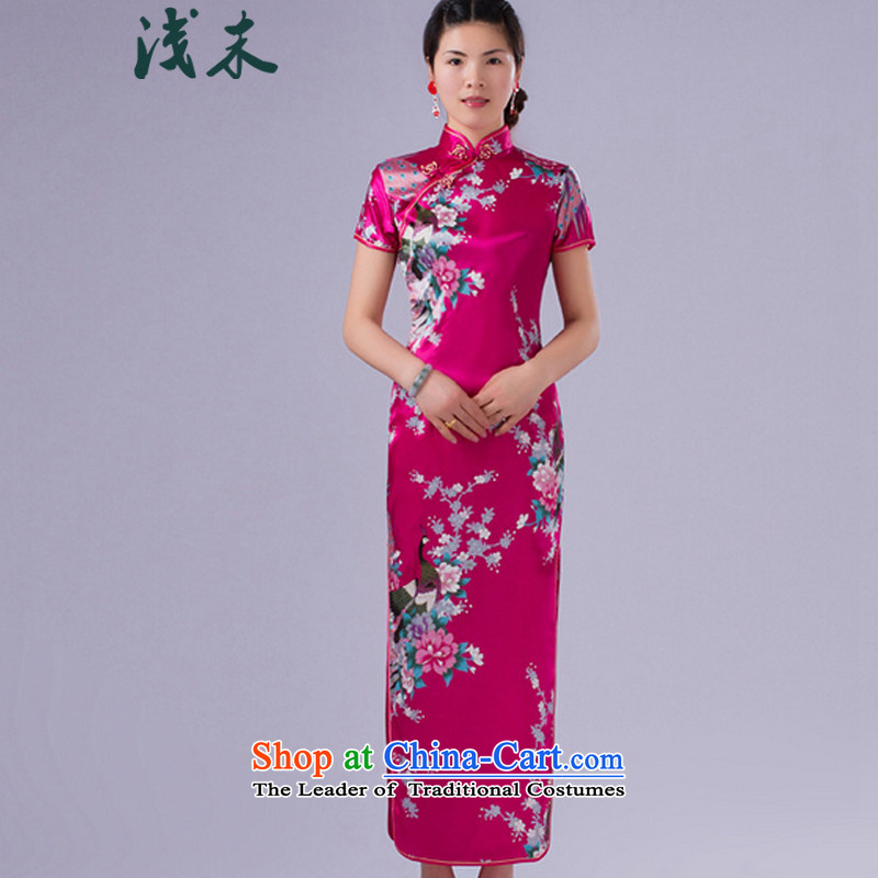 The end of the shallow China wind gentlewoman qipao peacock emulating silk flower Jacquard cheongsam dress in italics badges of Tang Dynasty?CJD004 long?been red?XL