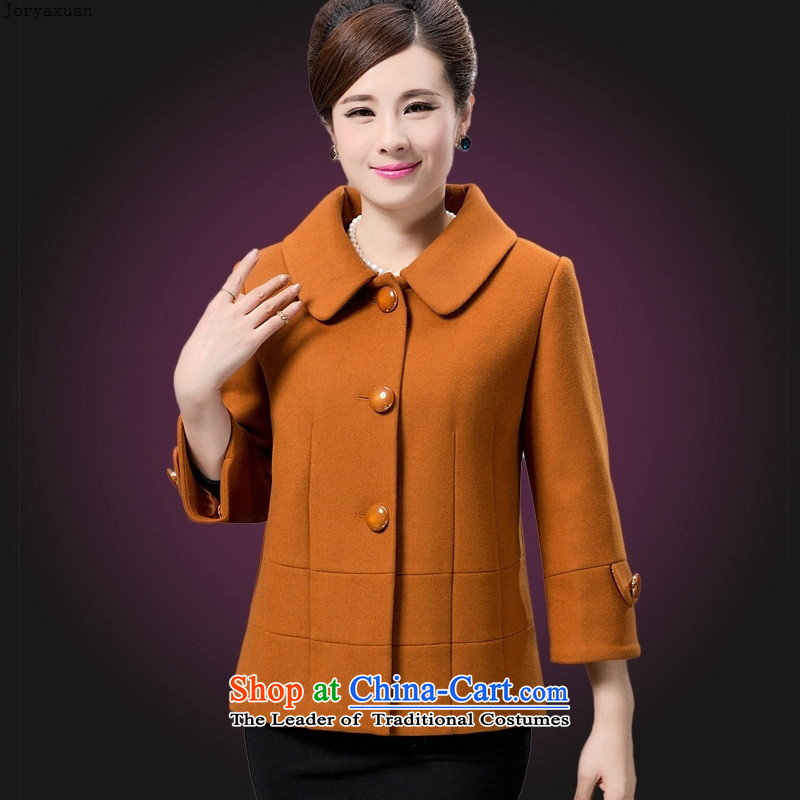 Web soft clothes in the autumn and winter 2015 older larger mother woolen a wool coat female short, single row detained jacket green?2XL