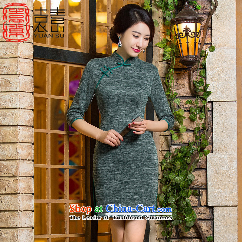 Yuan of knowing爓hat 2015 retro hair knitted dresses with improved cheongsam dress autumn new 7 installed in the Cuff mother qipao燪D296 older爂reen燲L