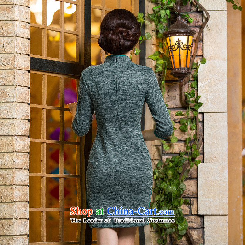 Yuan of knowing聽what 2015 retro hair knitted dresses with improved cheongsam dress autumn new 7 installed in the Cuff mother qipao聽QD296 older聽green聽XL, YUAN YUAN of SU) , , , shopping on the Internet