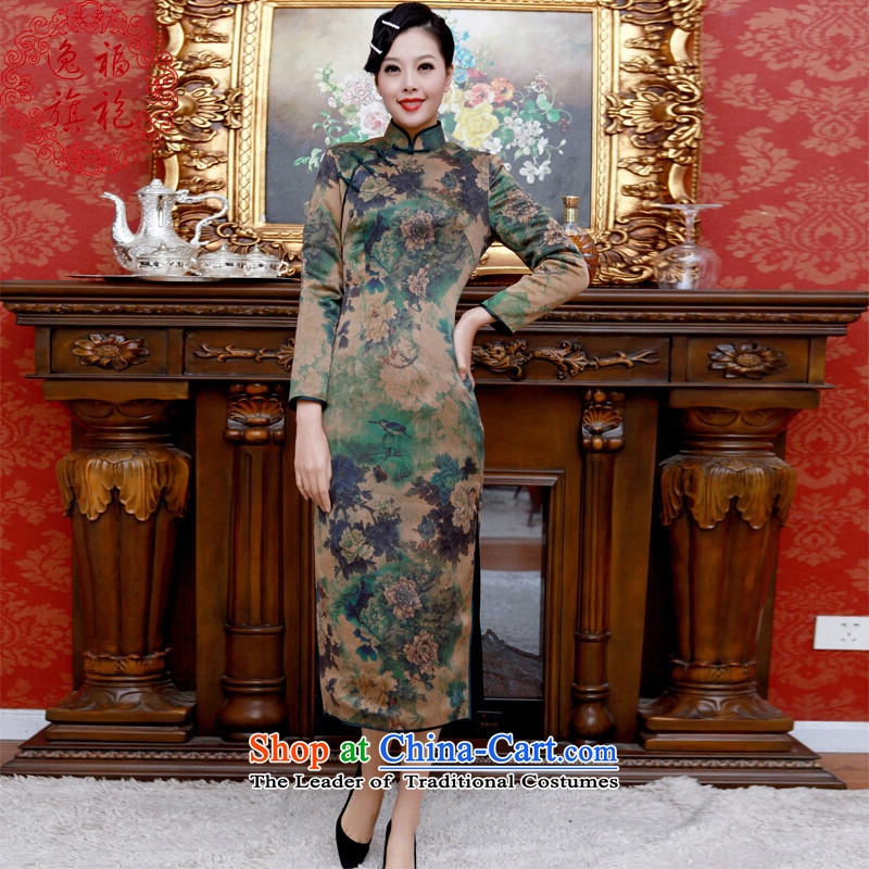 Well winter cotton folder Yat qipao Stylish retro-to-day, upscale custom silk long-sleeved incense cloud yarn qipao Suit聽M 15 day shipping