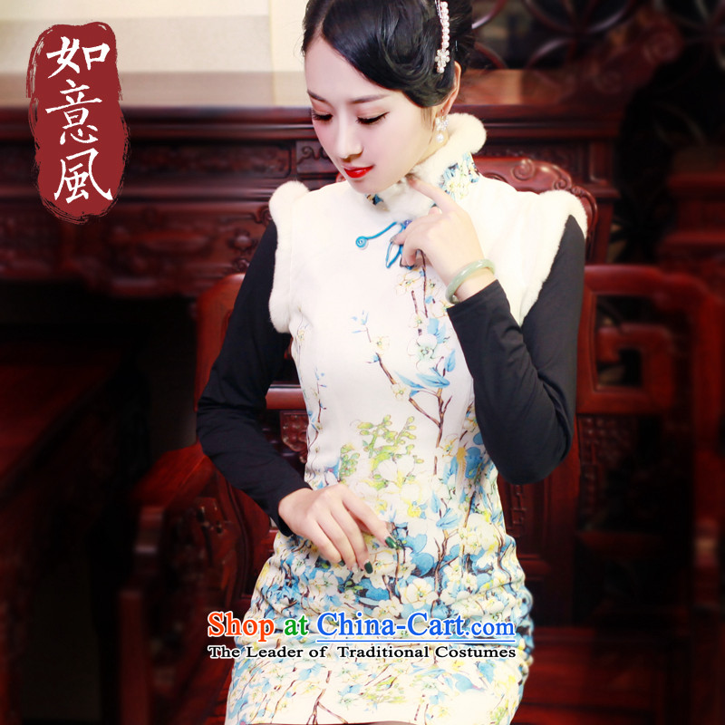 After a new wind 2015 Fall/Winter Collections of nostalgia for the improvement of short skirt Fashion Sau San-to-day 6050 6051 blue qipao?S
