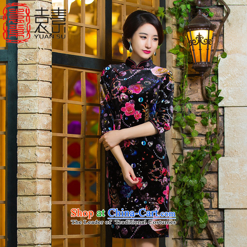 Yuan of water from�15 retro scouring pads fitted autumn skirt qipao new improvement in both the mother qipao older cheongsam dress 7 Cuff燪D297燬UIT燣