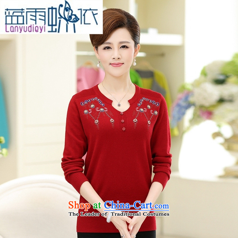 September female shop for a stylish Sau San ajar pure color long-sleeved Knitted Shirt, older women's autumn large load Paock Green�XL-115 Mom