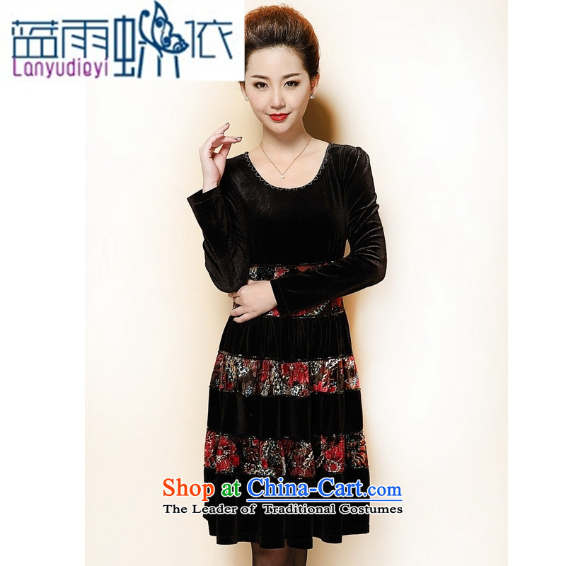 September 2015 Autumn female boutiques in mother large older women thick mm Kim scouring pads long-sleeved dress purple large L