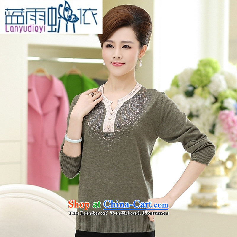 9 female boutiques for 2015 Sau San fashion dolls for pure color long-sleeved Knitted Shirt, older women's autumn large wine red燣-110 load Mom