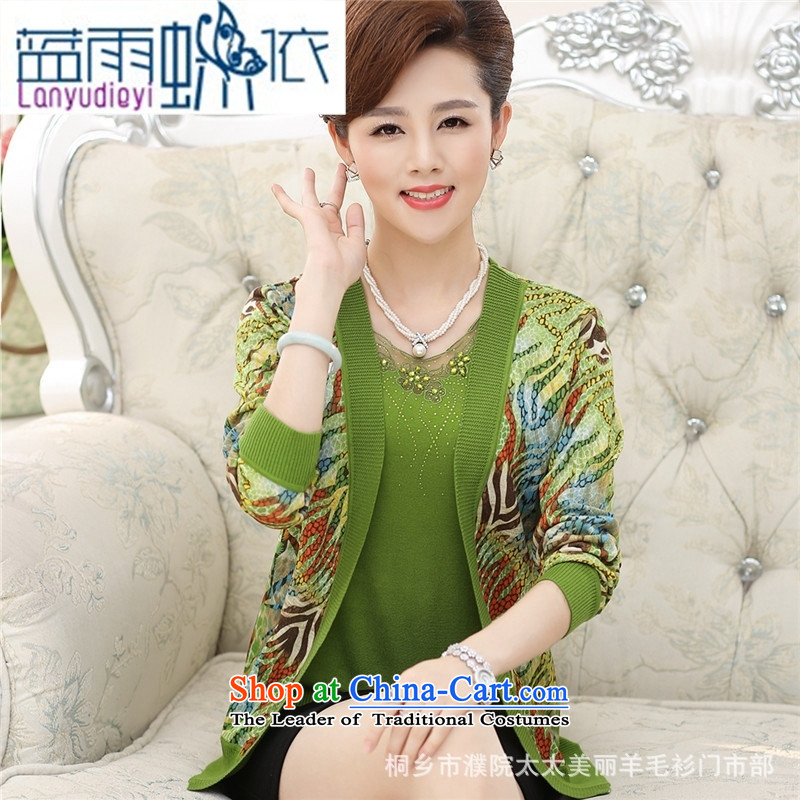 September 2015 in female boutiques of older women fall inside two jacket stamp really long-sleeved Knitted Shirt women older persons wearing green聽M