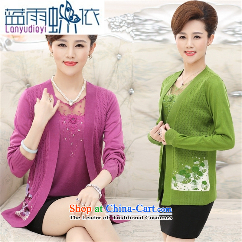 September 2015 in female boutiques of older women fall inside two jacket stamp really long-sleeved Knitted Shirt large older persons wearing purple聽120