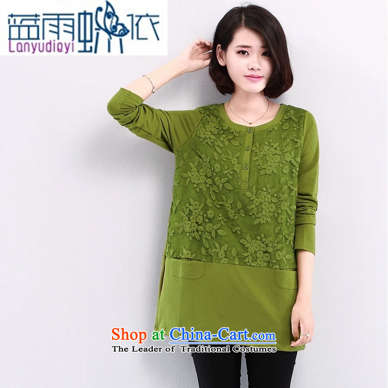 2015 Autumn and winter new lace stitching had darned women kit and long-sleeved T-shirt, forming the women loose video thin green T-shirt shirt燲XL