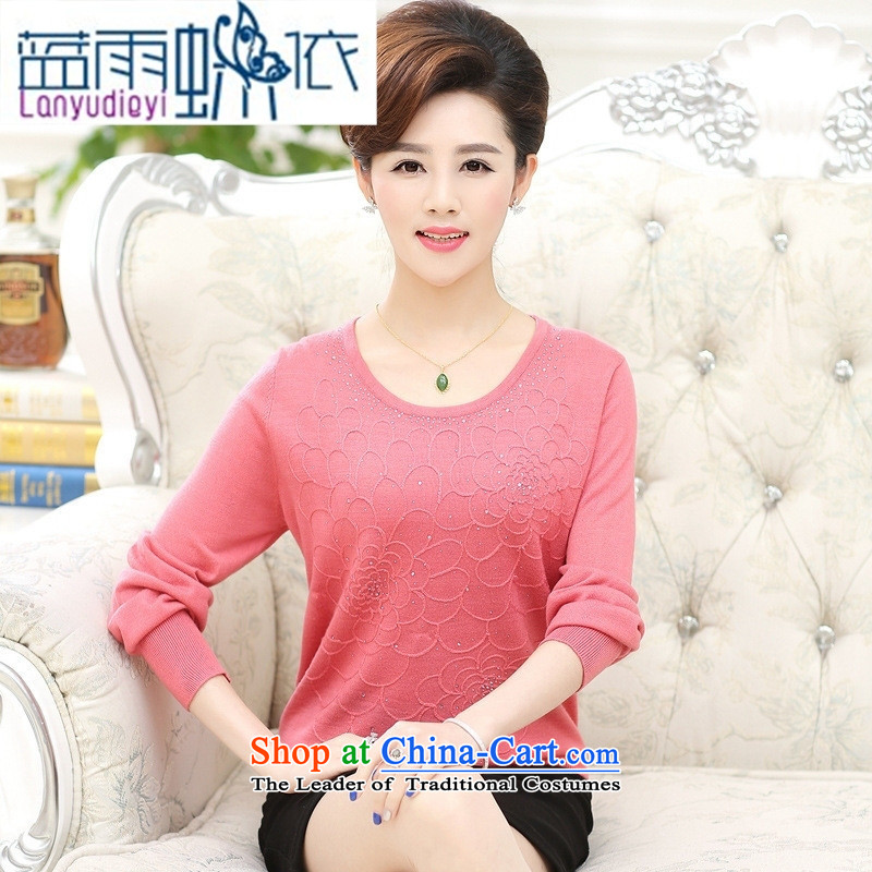 September 2015 New boutiques female_ Older winter mother boxed loose round-neck collar Edition high-end fashion wear long-sleeved shirt middle-aged ladies light violet燤