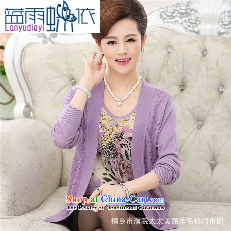 September female shop in large numbers of older women really fall in two kits of older mother knitted round-neck collar long-sleeved 40-50燲XXL Purple