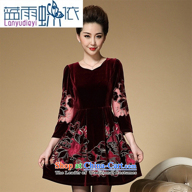 September female Shop Boxed new moms autumn replacing embroidery embroidered dress Korean high-end temperament of older Kim scouring pads long-sleeved dresses navy blue燣