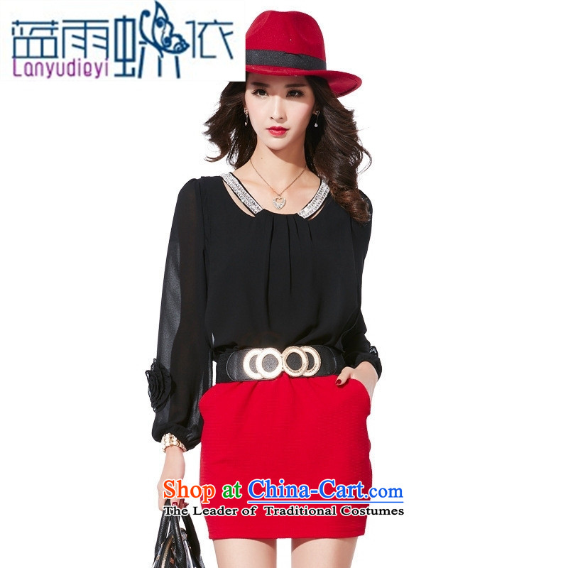 September 2015 Autumn female boutiques on the new Korean citizenry round-neck collar long-sleeved dresses and sexy knocked pack and short skirts are red with waistband?L