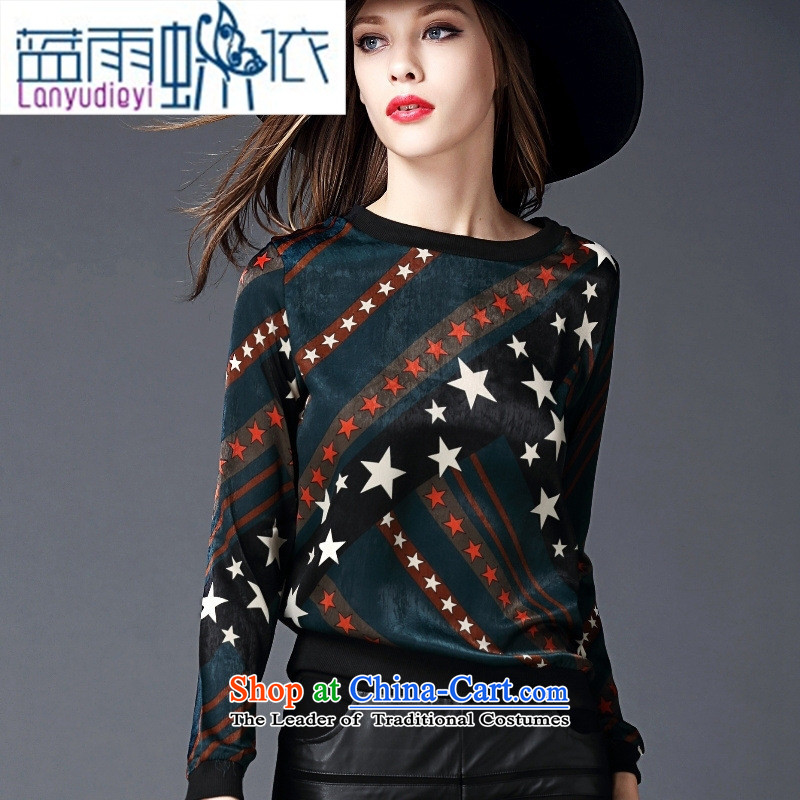September Girl Store European site with new autumn 2015 Western Pentagon stamp long-sleeved T-shirt, forming the video thin wild green T-shirt燤