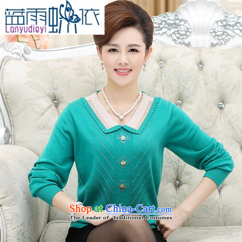 September Girl Store autumn and winter female new products with long-sleeved in MOM knitting older ironing drill for the temperament of cashmere wear the doll shirt female Blue�0