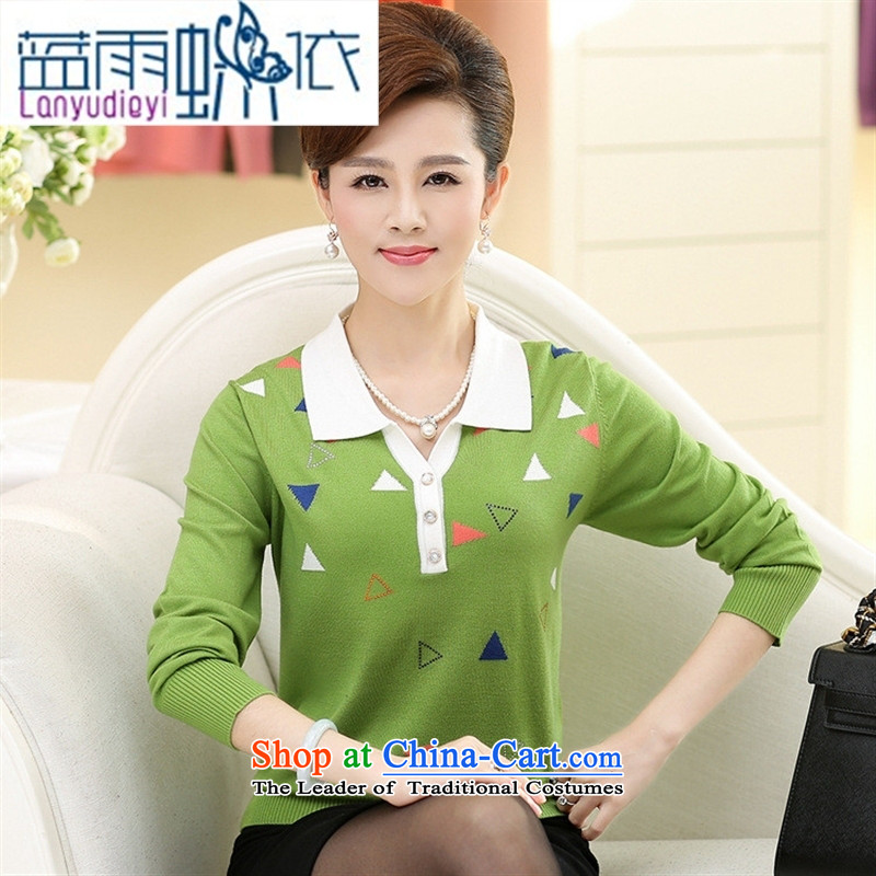 September 2015 New boutiques female_ Older women's long-sleeved lapel Knitted Shirt with boxed loose mother autumn forming the T-shirt sweater female Orange�0