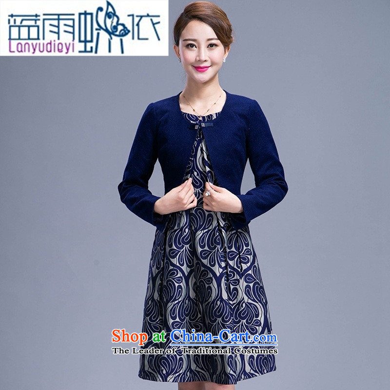 9 female boutiques 2015 autumn and winter large middle-aged moms long-sleeved woolen? two kits in the skirt of female blue燲L