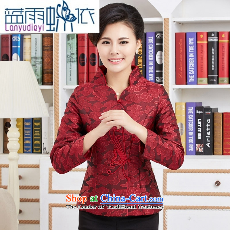 September Girl Store new Ms. Tang dynasty autumn wind long-sleeved blouses national mother in older women clothes red jacket embroidered燲XL