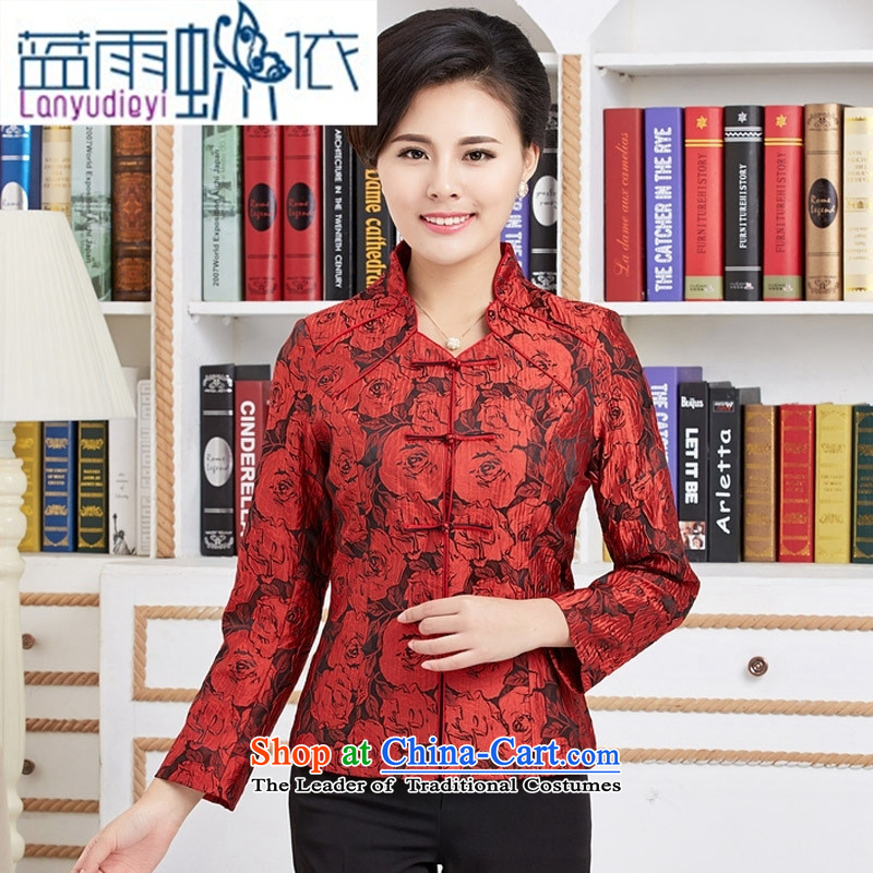 September Girl Store new ethnic Chinese President Tang dynasty improved in the spring and autumn Older long-sleeved T-shirt women with mother cheongsam red燲XL