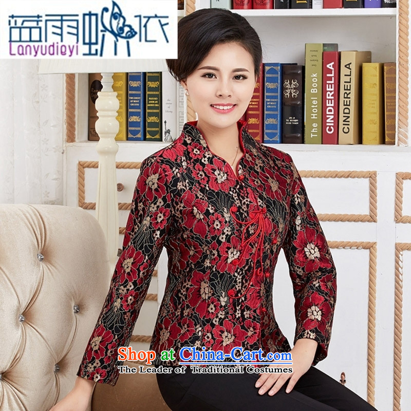 September female boutiques, Ms. Tang blouses female long-sleeve sweater with Spring and Autumn Chinese improved national dress with red燲XXXL Mom