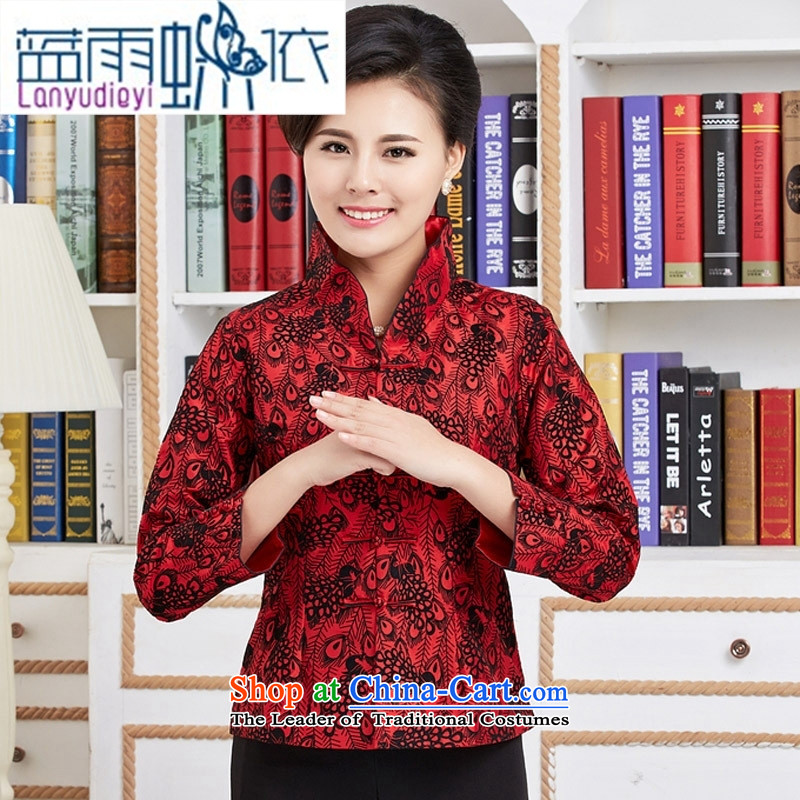 September Girl Store new Tang dynasty, during the spring and autumn wind long-sleeved T-shirt national mother in older women shirt feather figure jacket red燲XL
