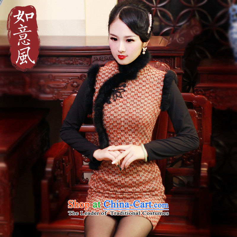 After a 2015 winter wind hair? dresses qipao rabbit hair for improved daily cheongsam dress retro 6001 6001 Orange?S