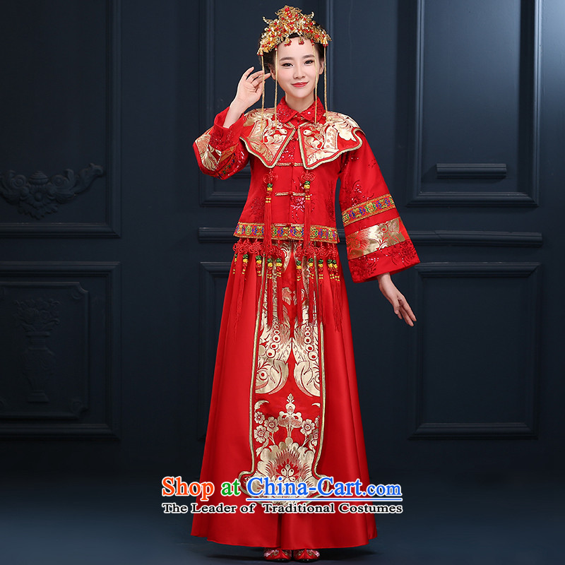 Sophie Abby Sau Wo Service Bridal Chinese wedding costume retro qipao bows services services use skirt-soo-Hi wo service wedding dress spring and summer traditional red wedding wedding dress red燣