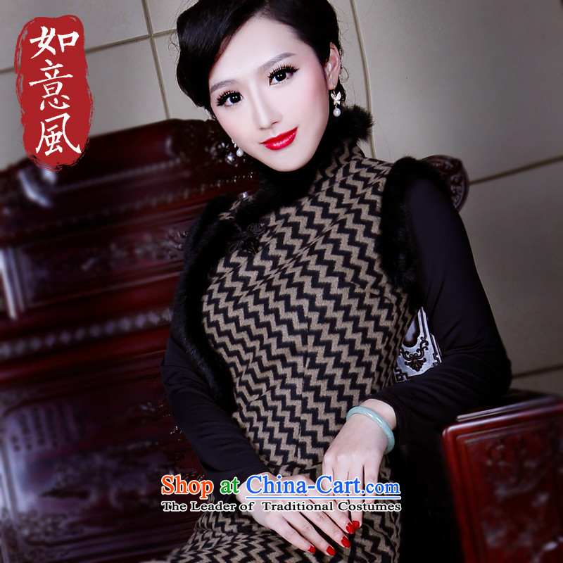 After a new 2015 winter wind of gross for wool qipao improved Warm Lined cheongsam dress 4825 4825 brown?S
