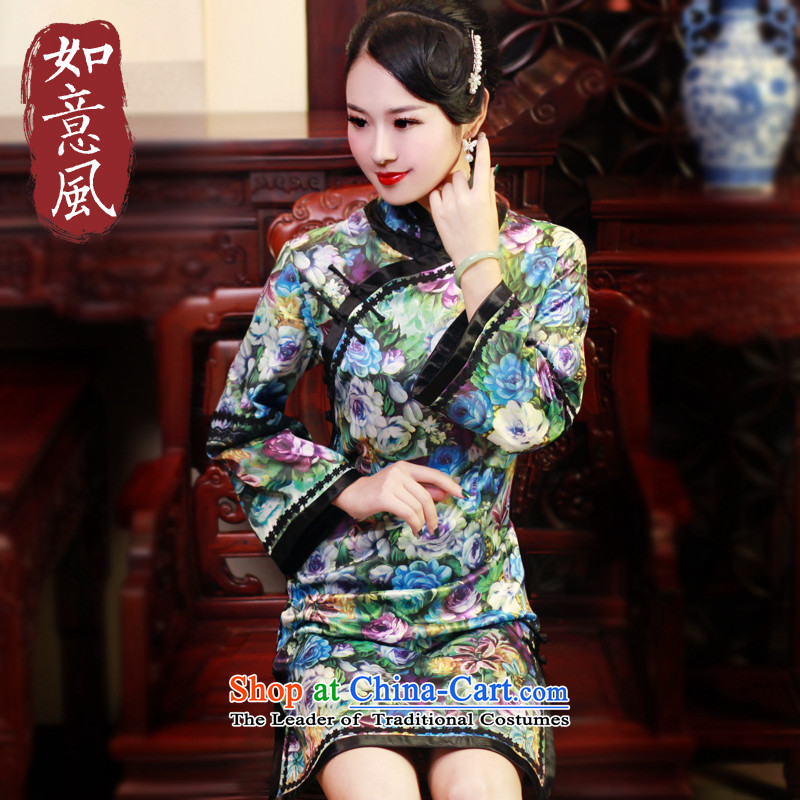 After a new wind 2015 winter clothing qipao long thick stylish improved long-sleeved Chinese cheongsam dress suit 6060 6060?S