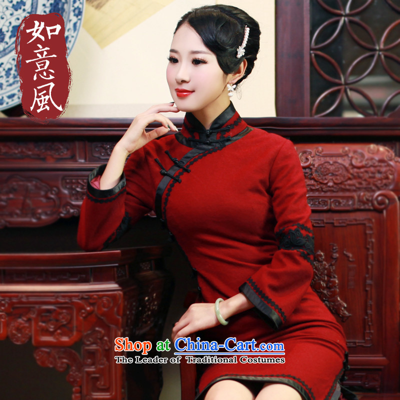 After a day of leisure facilities in�15 wind autumn and winter, new wool qipao stylish improved long-sleeved cheongsam dress Seo failed June covers 96,516,000 square meters wine red燣