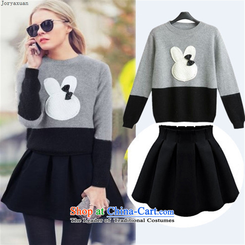 Web soft clothes 2015 autumn and winter new European and American Women's large Fat MM sweater kit to intensify the rabbit woolen sweater skirt kit sweater does not change color black skirt?3XL +4XL sweater or skirts 5XL