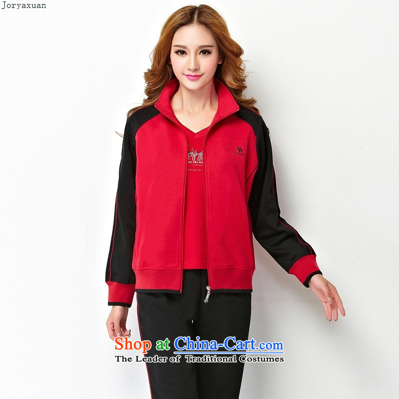 Web soft clothes for autumn and winter in middle-aged older casual wear suits women pure cotton kits to xl cardigan mother燲XXL red