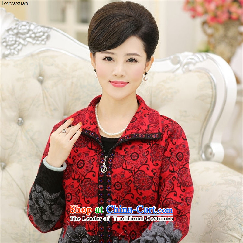 Web soft trappings of older women sweater cardigan thick lapel Fall_Winter Collections with larger jacket mother knitting sweater knit sweater in red�5
