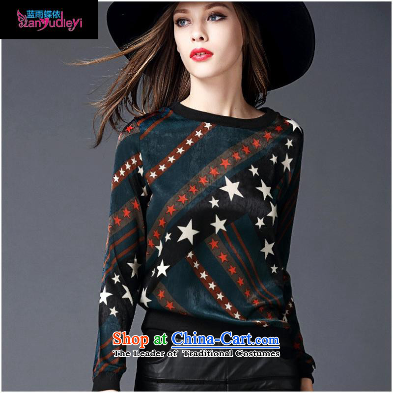 The Secretary for women involved boutiques _ European site with new autumn 2015 Western big star stamp long-sleeved T-shirt, forming the video thin Wild Green燣 T-Shirt