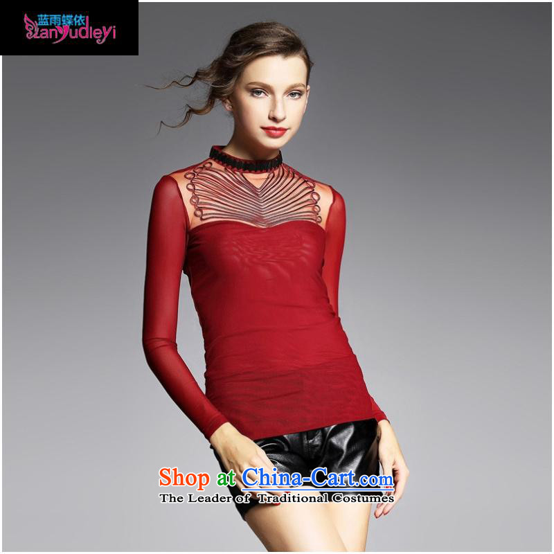 The Secretary for women involved boutiques _ European site with the new 2015 Autumn engraving stretch mesh long-sleeved shirt collar forming the T-shirt YN11036 Sau San wine red燤