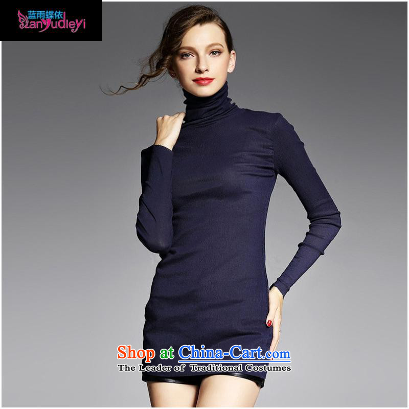 The Secretary for women involved boutiques * European station 2015 Autumn new for women wear shirts high collar long-sleeved T-shirt YN11031 hem Pressure   black?L
