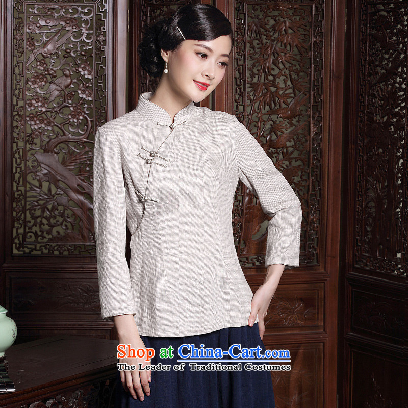 The seal of the original Chinese Ethnic Tang dynasty qipao shirt autumn new long-sleeved tray clip art nouveau T-shirt, beige?L