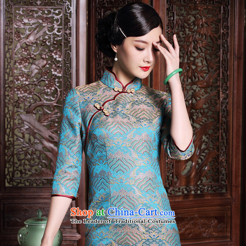 Seal of new Fall 2015 retro 7 cuff improved cheongsam dress short daily Ms. tapestries dresses picture color�XXL