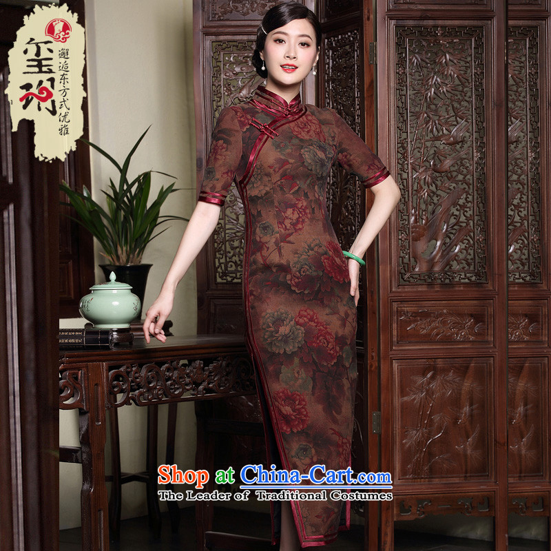 The fall of long seal cloud of incense yarn Silk Cheongsam Ms. retro. improved high-end dresses cuff dresses map color燲XL