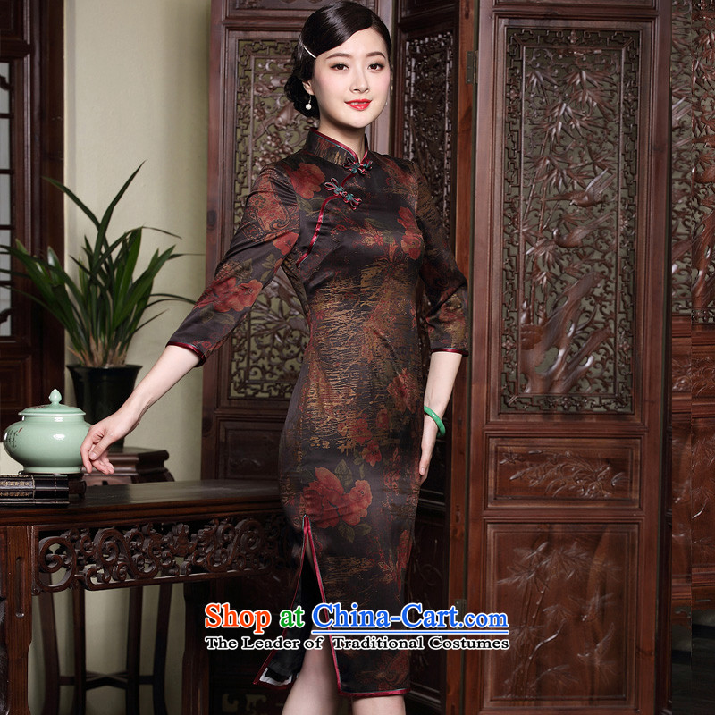 Seal of new fragrance autumn 2015 cloud yarn in qipao cuff retro silk improved disk detained Chinese Female dress photo color聽XL