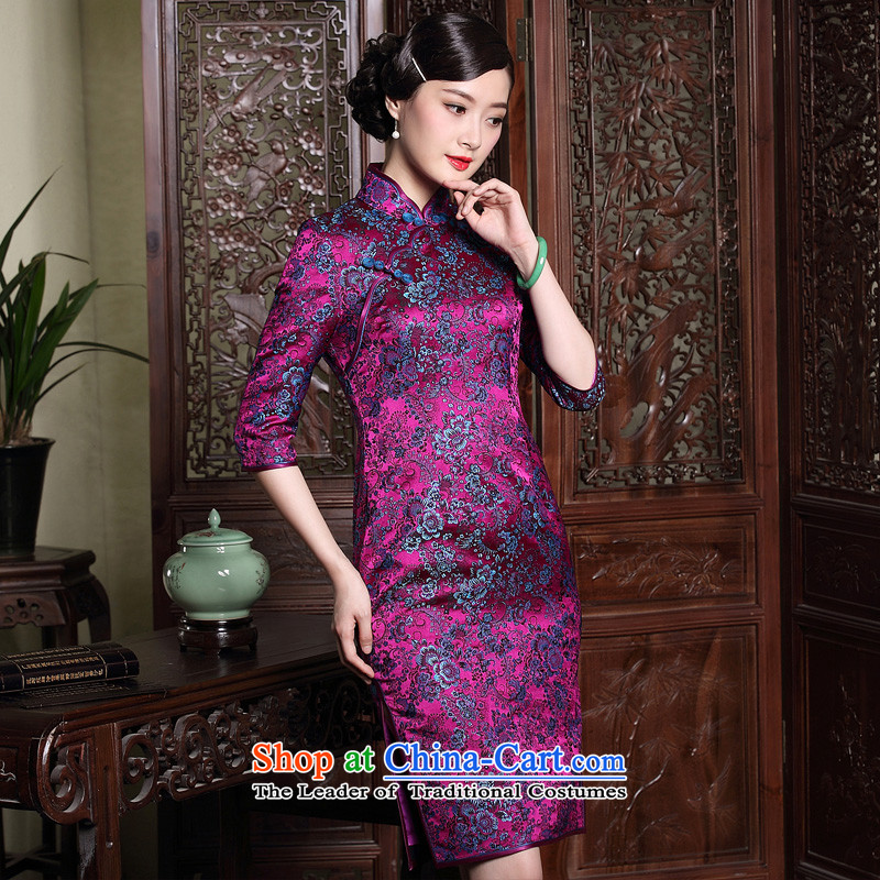 The fall of the new seal brocade coverlets in high-end sleeves cheongsam dress improved Ms. retro Chinese dresses purple?L