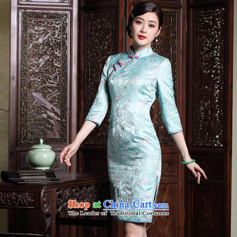 The fall of the new seal elegant qipao retro look like everyday improved seven short-sleeved Ms. dress dresses picture color L