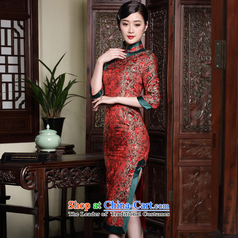 The fall of the new seal brocade coverlets improved retro in style qipao long elegant wedding dresses bows dress RED燤