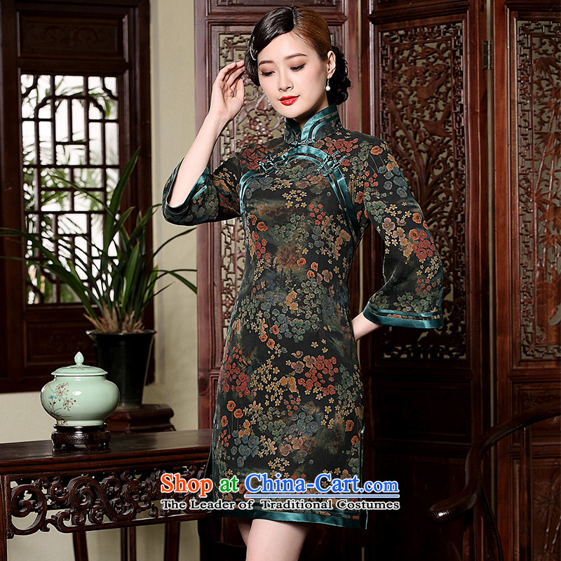 Seal of new fragrance autumn 2015 cloud Silk Cheongsam yarn 7 cuff improved Ms. retro Chinese dress photo color燤