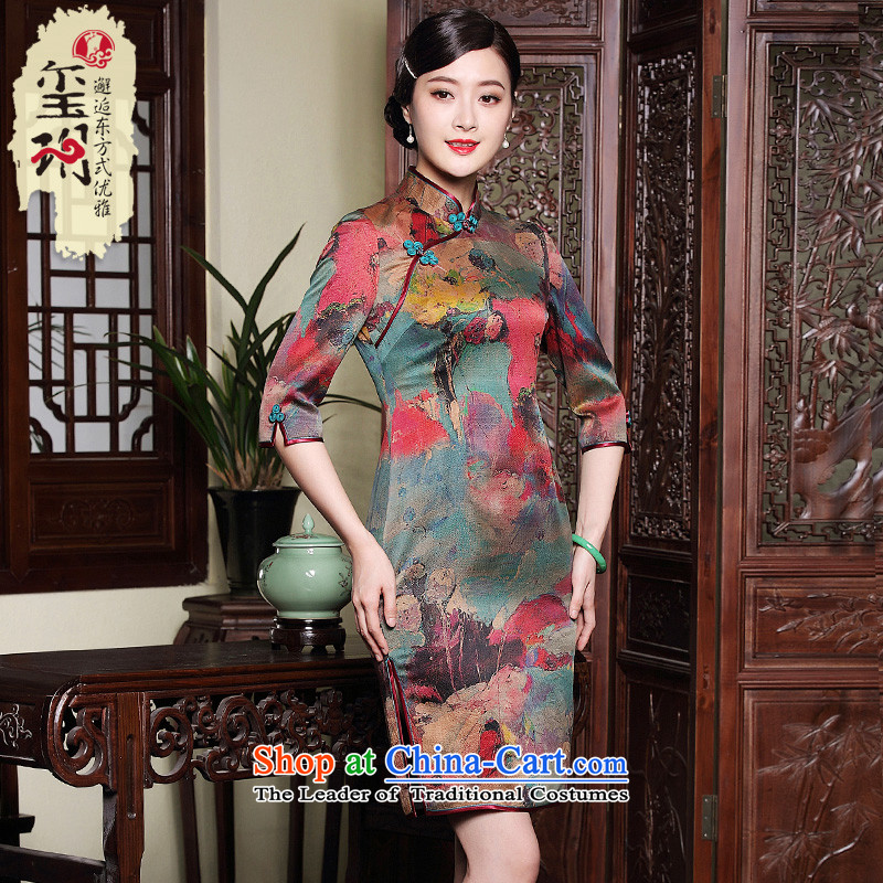 The Seal of autumn and winter new cloud of incense yarn Silk Cheongsam retro improved elegant seven-day Ms. cuff dresses�XXXL map color