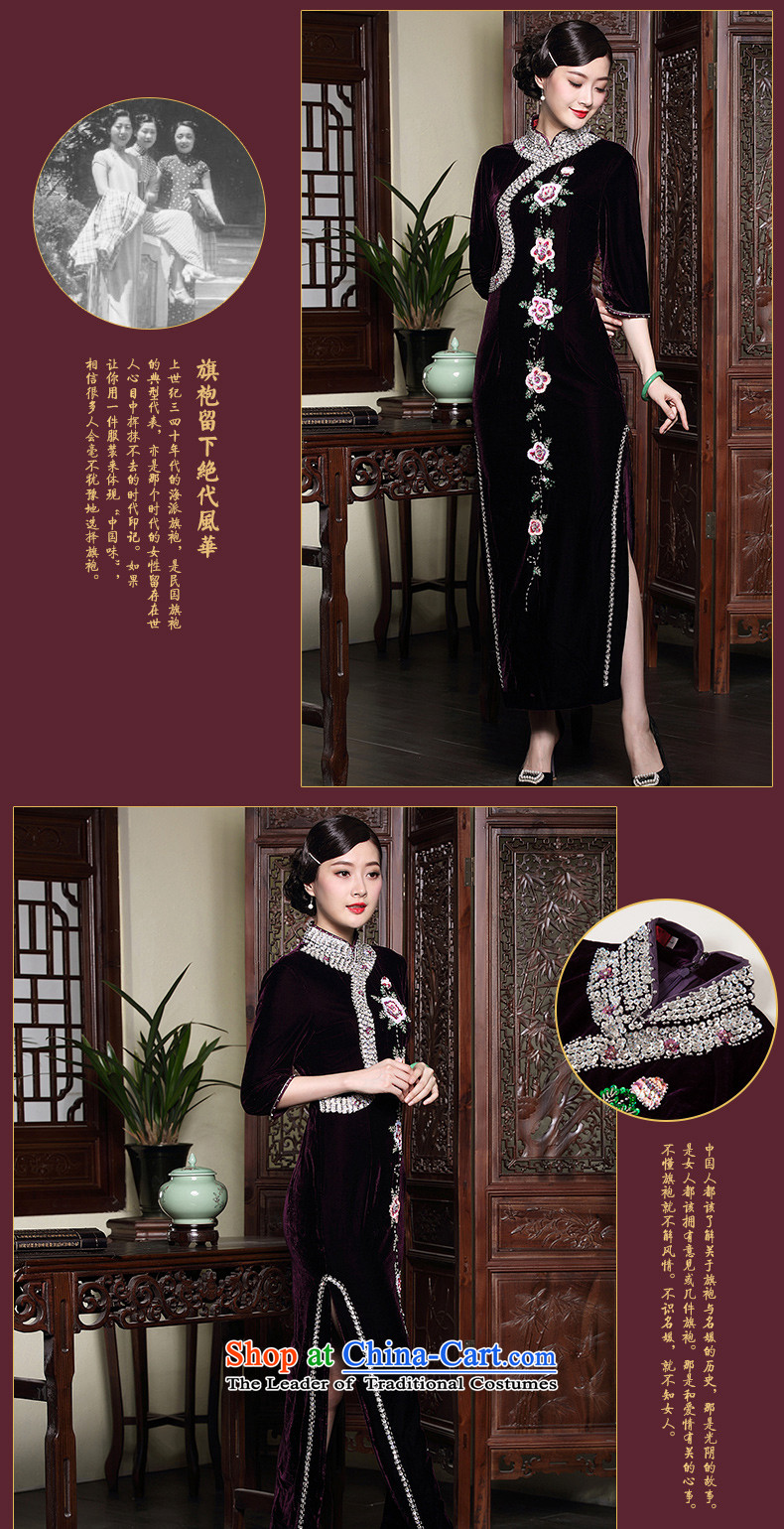 The seal of the autumn and winter 2015 new improved cheongsam dress wedding long staples pearl middle-aged mother velvet dresses purple聽XL Photo, prices, brand platters! The elections are supplied in the national character of distribution, so action, buy now enjoy more preferential! As soon as possible.