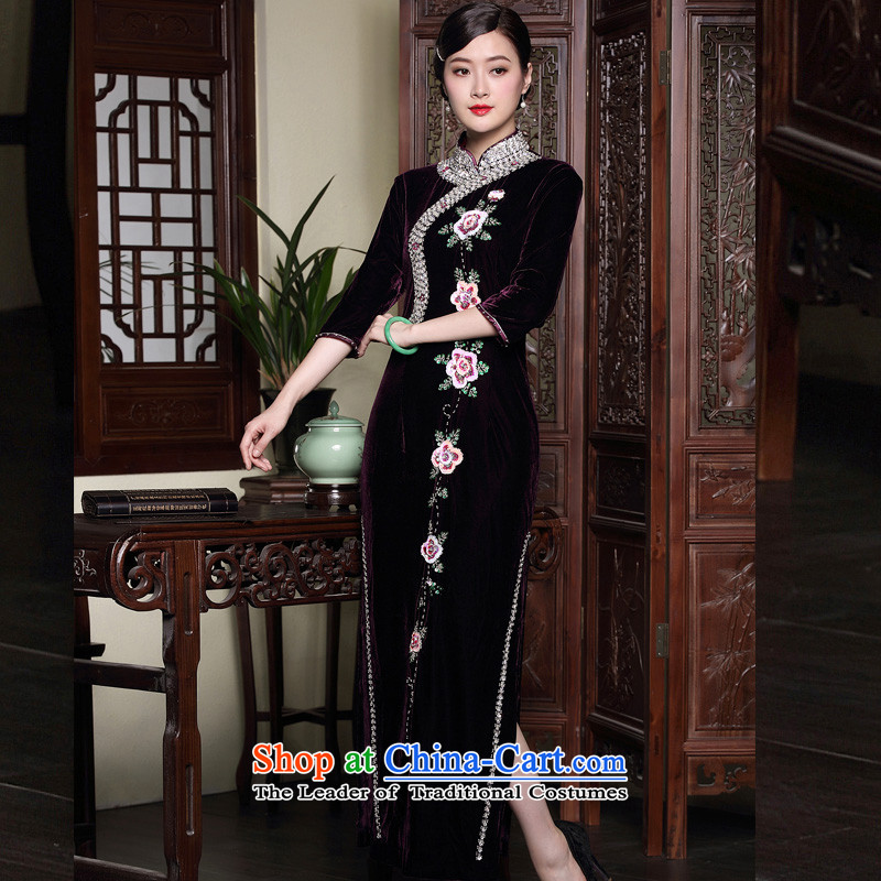 The seal of the autumn and winter 2015 new improved cheongsam dress wedding long staples pearl middle-aged mother velvet dresses purple?XL