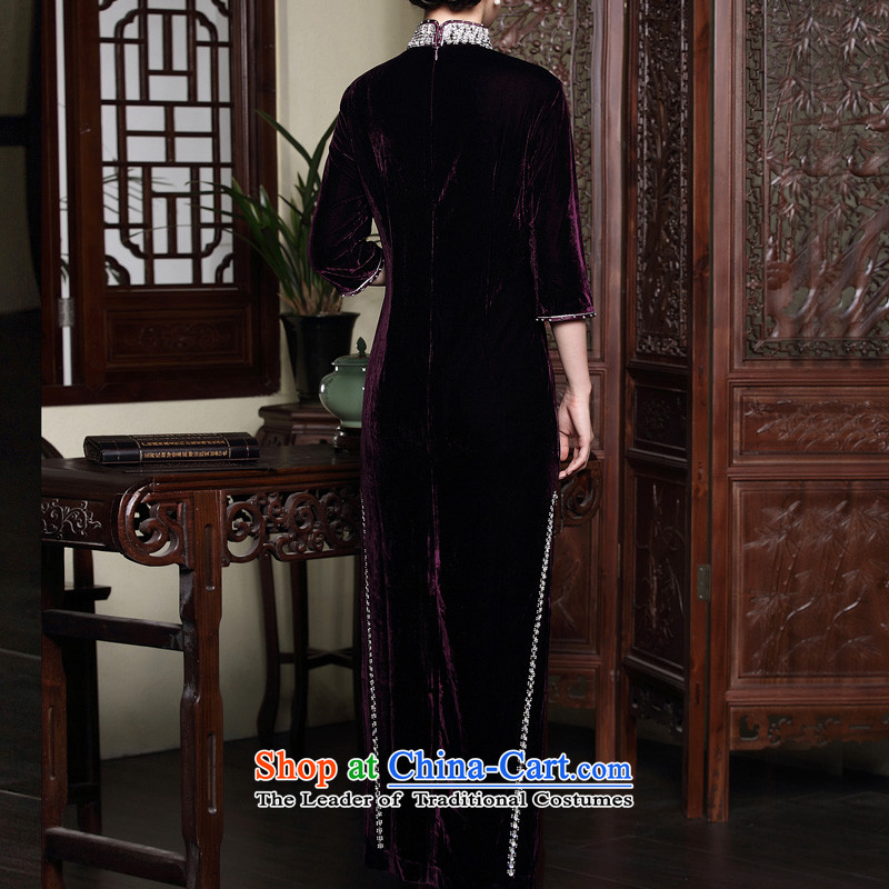 The seal of the autumn and winter 2015 new improved cheongsam dress wedding long staples pearl middle-aged mother velvet dresses purple聽XL, seal decreased by , , , shopping on the Internet