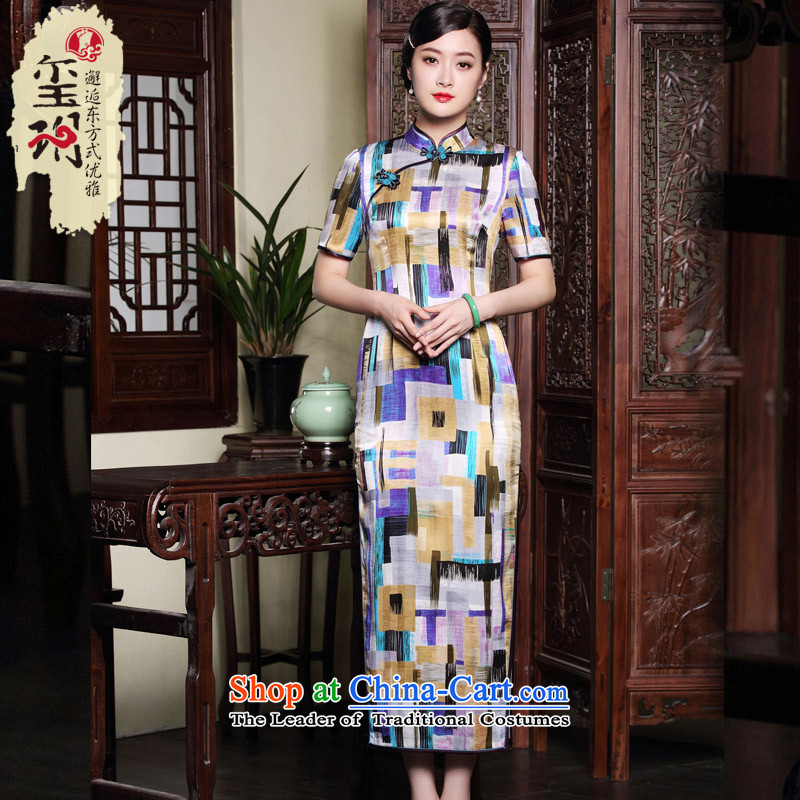 The fall of the new seal heavyweight Silk Cheongsam long geometry stamp elegant Ms. retro dress dresses map color?XL